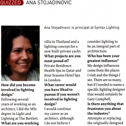 Ana Stojadinovic quizzed by Lighting magazine